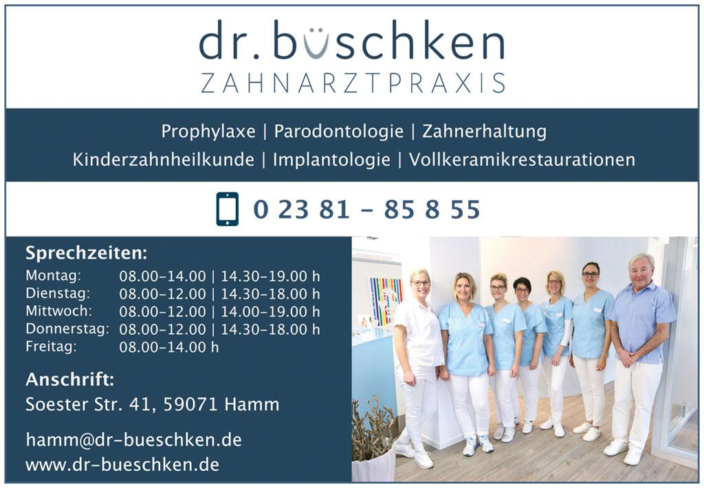 Anzeige Zahnarztpraxis Dr. Büschken für Turnierheft, Damenturnier TUS 59